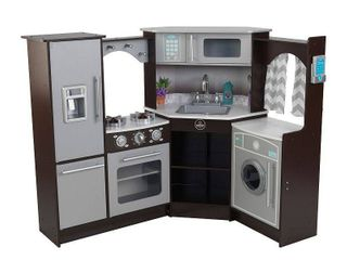 KidKraft Ultimate Corner Play Kitchen with lights   Sounds   Espresso   Not Inspected