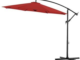 Bluu 10ft Patio Offset Umbrella Cantilever Umbrella Hanging Market Umbrella Outdoor Umbrellas with Crank   Cross Base Brick Red  APPEARS USED