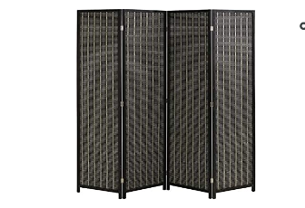 Bamboo Room Divider Folding Privacy Screen 4 Panel 72 Inches High 17 7 Inches Wide Room Divider For living Room Bedroom Study  Black   Not Inspected