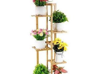Foldify Bamboo Plant Stand Indoor Outdoor Multiple Flower Pot Holder Shelf Rack Unit for Patio Garden Corner Balcony living Room 6 Flowerpots