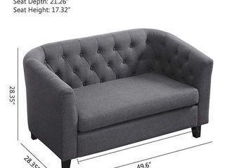 linen Fabric Sofa Upholstered Modern Tufted loveseat Retail  499 99