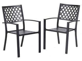 2pc Patio Stackable Metal Deck Patterned Chairs   Captiva Designs