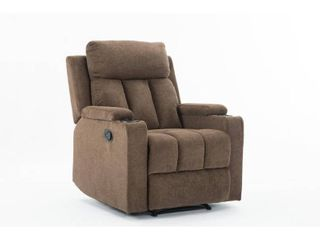 Ottomanson Cozy Comfortable Cushioned Recliner with Cup Holders  Retail 335 99 brown