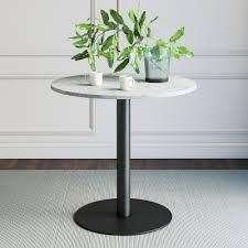 white table top with black pedestal 2 pc set as is