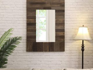 FirsTime   Co  Timber Chic Farmhouse Mirror  American Crafted  Rustic Brown  Glass  30 x 1 25 x 40 in   30 x 1 25 x 40 in  Retail 97 99