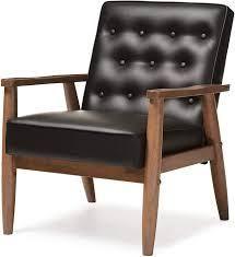 baxton studio mid century lounge chair Black   Faux leather  Retail 297 70