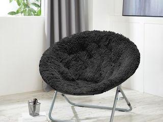 Mongolian Oversized Faux Fur black Moonchair silver