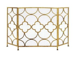The Curated Nomad Bimini Goldtone Metal Fire Screen  Retail 132 49