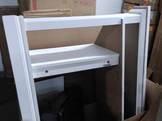 white shelf with fire place insert as is