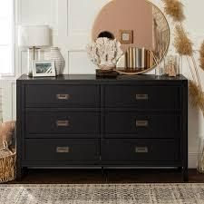 Carson Carrington Modern 6 drawer Solid Pine Dresser  Retail 393 49 black as is might be missing parts