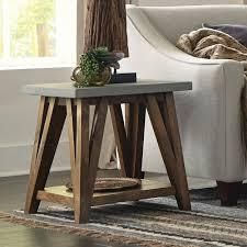 Carbon loft Omer 22 inch Concrete Coated Top Wood End Table  Retail 198 49