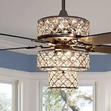 Silver Orchid Guinn Triple Tiered Crystal Ceiling Fan   52 l x 52 W x 18  Retail 245 99