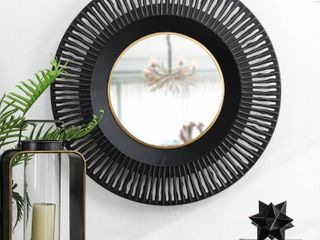 Glitzhome 35 D Vintage Industrial Metal Round Wall Mirror Decor  Retail 113 49