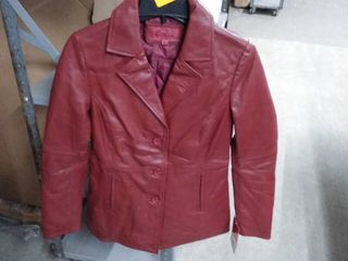 Excelled Women s leather Button Front Stroller Jacket  Retail 173 99 burgundy small