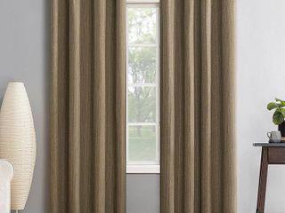 95 x52  Gavlin Crosshatch Jacquard Extreme Total Blackout Grommet Top Curtain Panels Camel Beige   Sun Zero