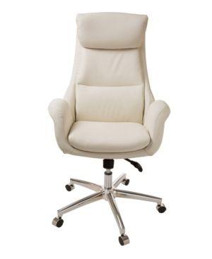 Cream Glitzhome Mid century Modern leatherette Adjustable Office Chair Retail  309 74