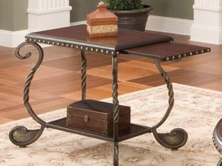 Riviera Wood and Metal Chairside End Table by Greyson living by Greyson living  Retail 152 99