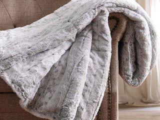 Christian Siriano 60  x 70  Snow leopard luxury Faux Fur Throw