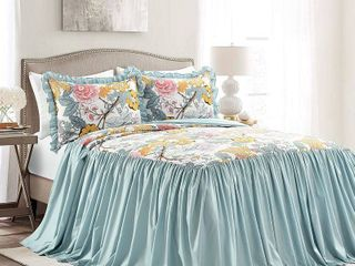 King 3pc Sydney Bedspread Set Blue Yellow   lush DAccor