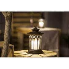 luxen home Round lantern With Candle Solar light