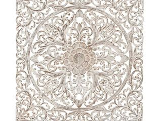 Carved Floral Ivory Medallion Wood Wall Panel by Studio 350 Retail  227 99