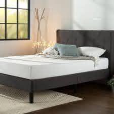 Priage by ZINUS Dark Grey Upholstered Platform Bed Frame only Retail 322 99