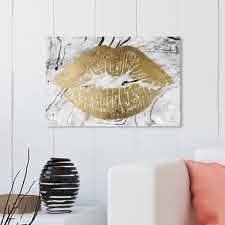 Oliver Gal Fashion and Glam Wall Art Canvas Prints  Solid Kiss Marble  lips   Gold  White  Retail 145 99
