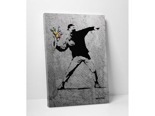 Banksy  Flower Thrower Full Size Version  Gallery wrapped Canvas Wall Art  Retail 161 99
