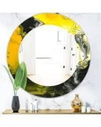 Designart  Marbled Yellow 1  Modern Mirror   Oval or Round Wall Mirror   Gold  Retail 186 49