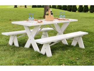 6  Table with Unattached Benches  Retail 319 99 white pvc plastic as is my be missing pieces 3 boxes