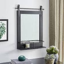 FirsTime   Co  Ingram Farmhouse Barn Door Mirror With Shelf  American Crafted  Rustic Wood  Metal  20 x 5 x 25 in  Retail 86 49 grey