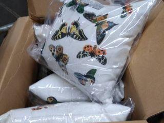 butterflies 4 pillows White