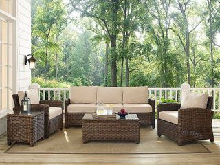 Outdoor Wicker Back  amp  Seat Cushion Cover Set Sand Color  Set of 5 Cushions