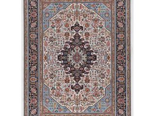linon Emerald Rectangle Area Rug with Ivory Finish