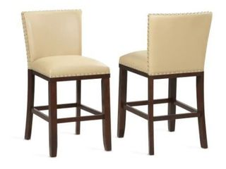 Toledo Wood and Faux leather Bar Stools  Set of 2  by Greyson living  Retail 239 99