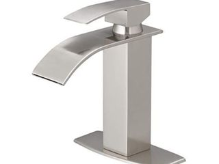 Waterfall lead Free Solid Brass Single Handle Bathroom Vanity Sink Fauce with Water Hose  Retail 162 49