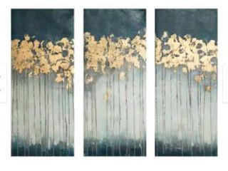 Strick   Bolton Midnight Forest Gold Foil Embellished 3 piece Canvas Set  Retail 81 99