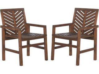Outdoor Wood Patio Chairs   Set of 2   Dark Brown