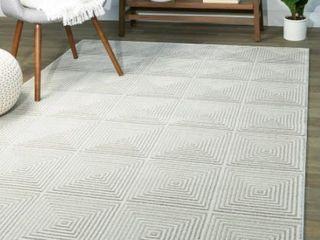 Cabell Geometric Area Rug Runner  Grey