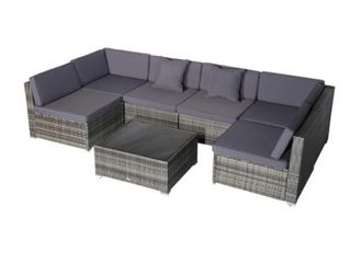 Incomplete  2 Corner Chairs and Ottoman  Siara 7 piece Modern Rattan Wicker Modular Sectional Patio Set by Havenside Home
