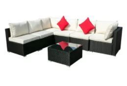 Incomplete  2 Chairs and Ottoman  Zenova 7 piece Modern Rattan Wicker Modular Sectional Patio Set by Havenside Home