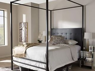 Industrial Black Canopy Bed by Baxton Studio Size   Queen  Canopy Frame Only  No Headboard    Retail 313 99