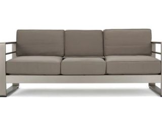 Cape Coral Outdoor Aluminum Sofa with Cushions by Christopher Knight Home