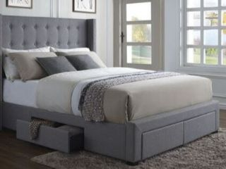 Strick  amp  Bolton Roth Grey linen Queen Wingback Storage Bed  Incomplete Headboard Wing Only  Retail 1152 99