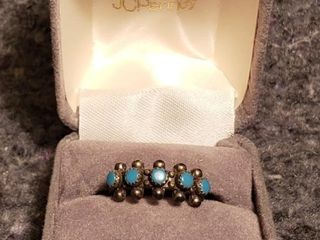 Turquoise Studded Sterling Ring