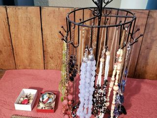 Assorted Costume Jewelry with Rotating Stand