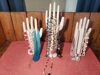 Vintage Ceramic Jewelry Hands with Costume Jewelry