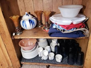 Country Glen Stoneware   Contents of Cabinet
