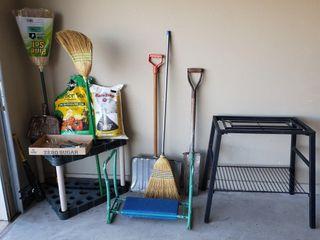 Wheelbarrow   Shovels   Plant Stand   Brooms