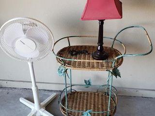 Wicker Tea Cart   Fan   Table lamp